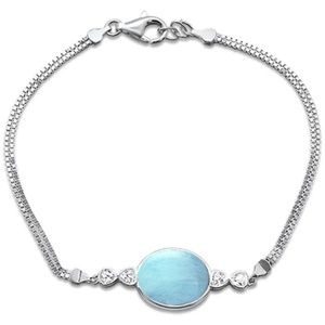 natural larimar oval , 925 sterling silver bracele